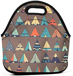 BJjiayu Insulated And Reusable Lunch Bags Tote Bag For Womens Men,Small Lunch Box Aloha Teepee Native American Summer Tent In Indian Boho Camping Caravan Cottage
