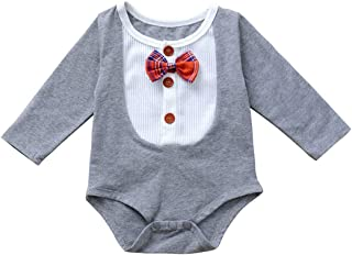 Newborn Baby Girls Romper Jumpsuit Kids Bow Tie Solid Color Long Sleeve Button Fall Autumn Bodysuit Outfit