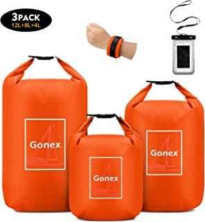 Gonex Waterproof Dry Bag Set Floating Roll-Top Dry Sack Stuff Sack Storage Bag for Kayaking Boating Canoeing Swimming Water Sports 4L+8L+12L with a Phone Pouch & Shoulder Strap