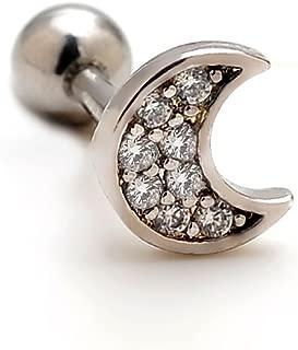 2 Pieces 16g Rhinestone Moon Upper Ear Cartilage Helix Studs Earrings Lobe Piercings 16 Gauges 1/4