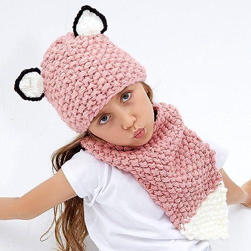 7a4ff7c9208 Tacobear Kids Hat Knit Cap Crochet Animal Hat Scarf Warm Winter Hat  Handmade Coif Hooded Beanie