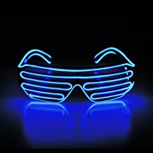 Aquat Shutter El Wire Neon Rave Glasses Light Up Flashing LED Sunglasses Voice Activated Costumes For Party, 80s, EDM RB02 (blue, black frame)
