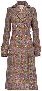 Wool Coats Ladies Plaid Winter Trench Lapel jacket female retro waist double breasted Lapel Slim Long raglan sleeves plus long Ladies Winter