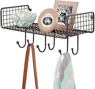 mDesign Metal Wire Farmhouse Wall Decor Storage Organizer Shelf with 6 Hooks for Entryway, Hallway, Mudroom, Bedroom, Bathroom, Laundry Room - Wall Mount - Bronze