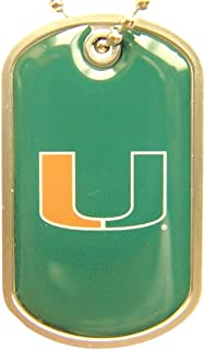 aminco Miami Hurricanes Dog Tag Domed Necklace Charm Chain NCAA