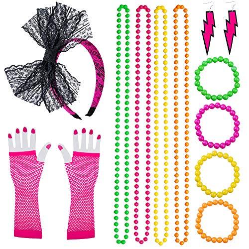 Keriber Plastic Neon Armbänder Multicolor Bead Halsketten Spitze Bogen Stirnband Lange Fischnetz Handschuhe Beleuchtung Ohrring 80er Party Kostüm Zubehör Set
