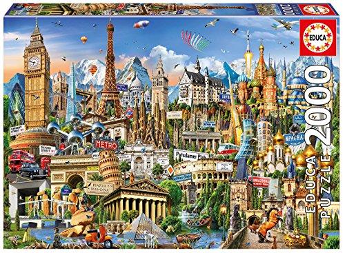 Educa-2000 Europe Landmarks Puzzle, Colore Vario, 17697