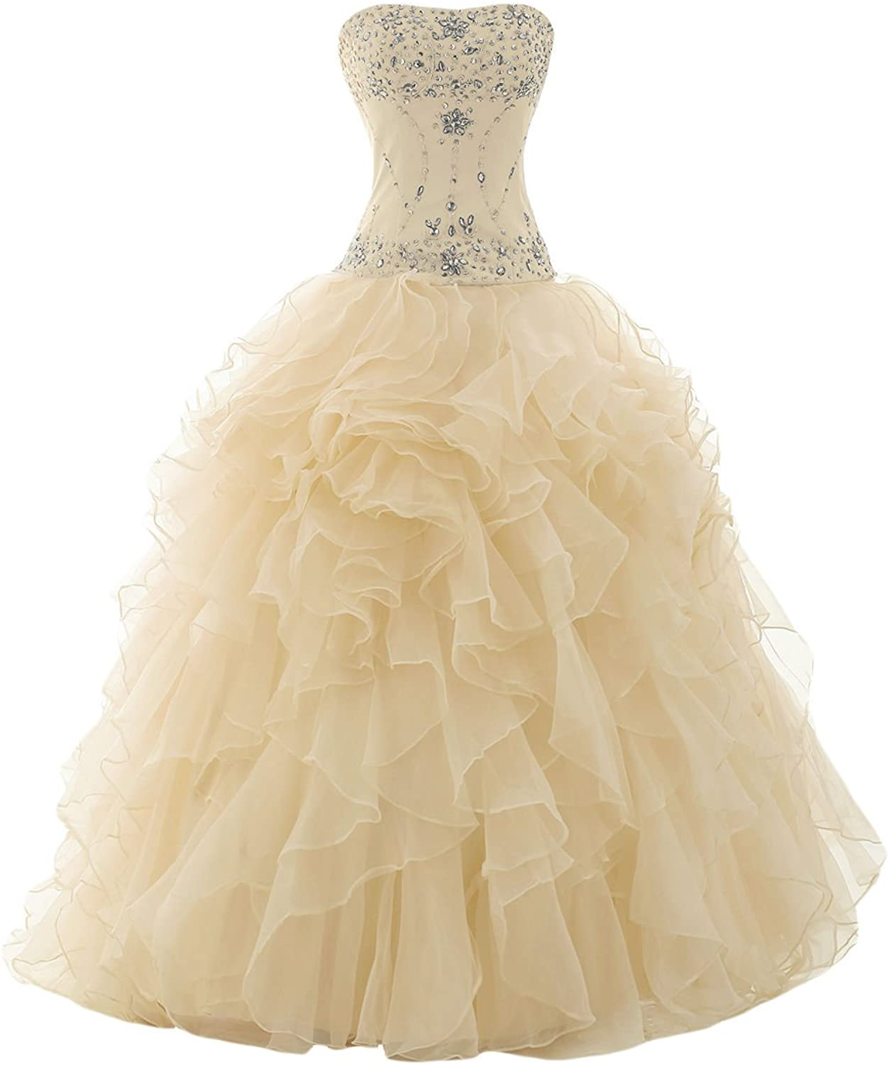 QY Bride Organza Quinceanera Dresses Long Sweet 15 Birthday Prom Gowns