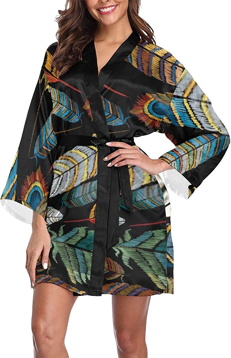 LOJU Womens Outlet ☆ Free Shipping Robe Beautiful Embroidery Feathers Peacock Tropical Award