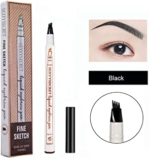 Microblading Eyebrow Pencil Tattoo Brow Ink Pen Waterproof Long Lasting Smudge-Proof Eyebrow Tattoo Pen with Micro-Fork Tip Eyes Makeup (Black)