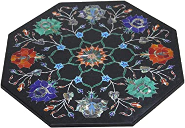 """Queenza 12"""" x 12"""" Black Marble Wall Tile to Décor Your Home Handcrafted Inlaid with Mother of Pearl, Paua Shell Stone"""