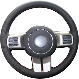 XUJI Black Genuine Leather Car Steering Wheel Cover for Jeep Grand Cherokee 2011-2013 Compass Wrangler Patriot 2011-2016