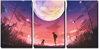 wall26 - 3 Piece Canvas Wall Art - Illustration - Young Woman with Dog at Beautiful Night with Huge Moon Above - Modern Home Decor Stretched and Framed Ready to Hang - 16