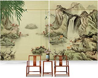 CAIJUN Bamboo Blind Roman Shades Chinese Style Landscape Painting Roller Blind 2pcs Indoor Decoration, 5 Styles, Custom Size (Color : B, Size : 180x200cm)