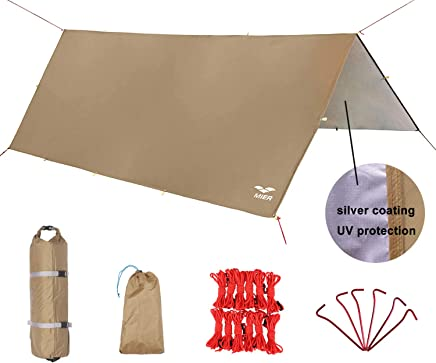 MIER Waterproof Hammock Rain Fly Lightweight Tent Tarp Camping Backpacking Tarp Shelter,  6 Stakes and 12 Ropes Included