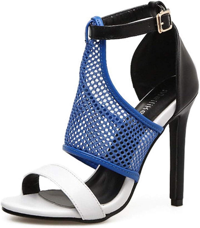 Kirabon Women's High-Heeled Sexy Mesh Openwork High-Heeled Sandals (color   bluee, Size   38)