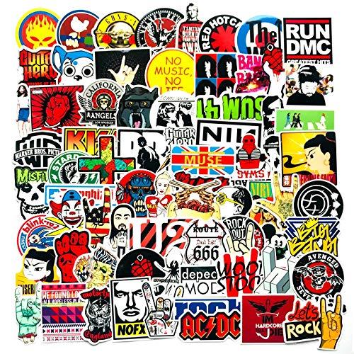 BLOUR 110 Stück Rock Roll Hip Hop Graffiti Aufkleber Punk Band Musik Street Art Aufkleber Telefon Laptop Skateboard Snowboard Fahrrad Aufkleber