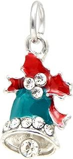 J&M Dangle Christmas Jingle Bell with Crystals Charm Bead for Charms Bracelets