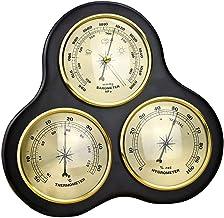perfk Barómetro Termómetro Higrómetro de Pared Ahorcamiento, Tres Relojes Redondos
