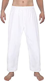 FitsT4 Karate Pants 8oz Middleweight Elastic Waist Martial Arts Pants Perfect for Training or Competition White, 000-5