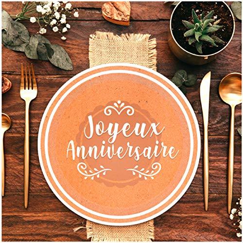 Les Trésors De Lily [A0770 - Pack de 6 Assiettes 'Joyeux Anniversaire' Marron Kraft - 23 cm