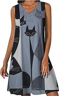 Frauenkleid Katzenmotiv Abstrakter Druck Freizeitkleid V-Ausschnitt Ärmelloses, lockeres Etuikleid Strandkleid Partykleider