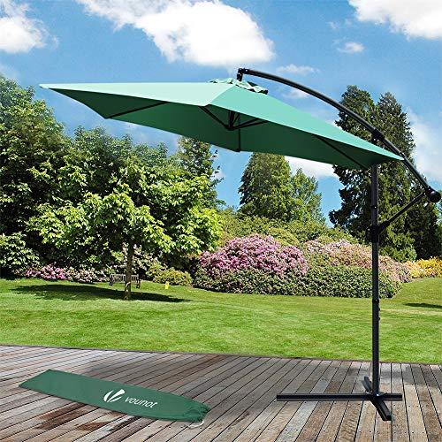 VOUNOT Ampelschirm 300 cm, Sonnenschirm mit Kurbelvorrichtung, Kurbelschirm mit Schutzhülle, Sonnenschutz UV-Schutz, Grün