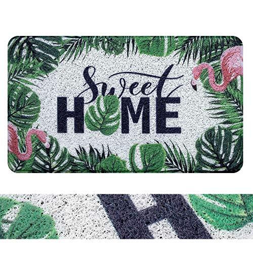 RORA - Felpudo de bienvenida al aire última intervensión de PVC para interiores y exteriores, fácil de limpiar, con base de goma antideslizante para zapatos, alfombrilla de entrada, para cochera, patio, jardín con flamenco, monstrua, hojas verdes de palma, (43,9 x 74,9 cm)