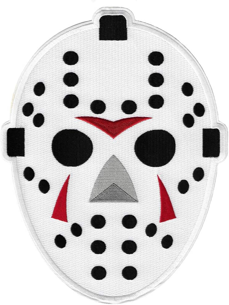 Large Hockey Goalie Mask Cheap mail order sales Limited price Embroidered Halloween Hor Patch Iron-On