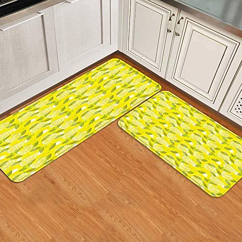 FAKAINU Juego de 2 Alfombrillas antifatiga para Cocina,Alfombra de baño, Alfombra de Piso Rodajas de limón Fresco de Primavera con Fondo de Hojas Frutas Suaves Verano de Buen Gusto