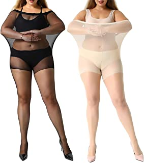 Manzi - 2 o 4 pares de medias de control de talla grande para mujer