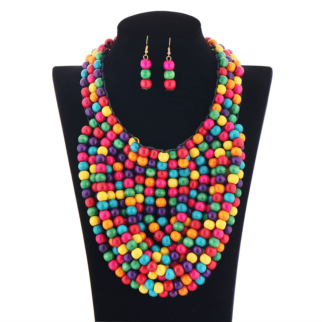 Barode Save money Layered Statement Necklace Luxury goods Tassel Multicolor Chunky Bead