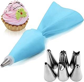 AukCherie Boquillas para repostería, 8 Piezas, de Acero Inoxidable, 6 boquillas, 1 Bolsillo para repostería, 1 acoplador, DIY Kits para decoración de Tartas (Blue2)