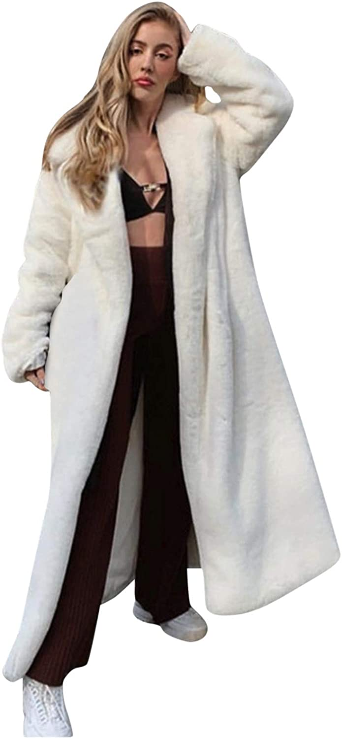 Forwelly Women Winter Long Cardigan Open Front Fluffy Plush Warm Overcoat Solid Color Plain Thicken Jacket