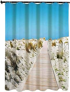 ビーチ 自然の風景 シャワー カーテン 90 x 180cm サルデーニャ島南部のルデューンビーチの遊歩道イタリアンスタイルの平和な時間 浴室 カーテン イル 防水 防カビ加工 洗面所 間仕切り 目隠し用 取付簡単 バス用品 カーテンリング付 ...