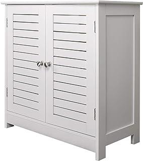 eSituro Mueble Bajo Lavabo Armario de Suelo para Baño Mueble de Baño Organizador 2 Puertas MDF Blanco 60x30x60cm SBP0024