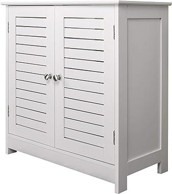 eSituro SBP0024 Meuble sous lavabo Meuble de Salle de Bain avec 2 Portes Blanc