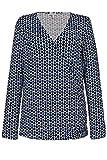 GINA LAURA Damen Shirt, Punkte, Wickeloptik, Langarm Offwhite XL 726509 21-XL