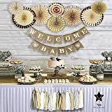 YARA Baby Shower Decorations Neutral | Woodland Rustic Boho Theme Oh Baby Decoration for Girl & Boy, Gender Reveal & Birthdays | Burlap Welcome Baby Banner, Gold & Cream Decor Paper Fans & Tassels