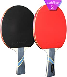 MAPOL 4 Star Professional Ping Pong Paddle Advanced Training Table Tennis Racket with Carry Case (2PCS)