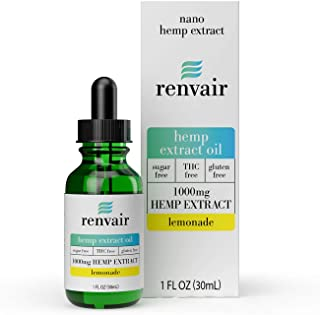 Renvair Hemp Extract Drops - 1000mg Nano Emulsified for Faster Absorption, THC Free, All-Natural, Non GMO, Gluten Free - L...