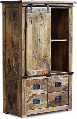 Modern Chrome Slider Mango Wood Industrial Cabinet Wardrobe Pantry Small Cupboard Handmade Handicraft (Made to Order)