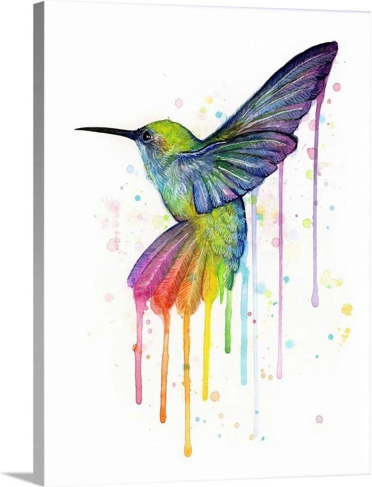 Rainbow Hummingbird Canvas Max 64% OFF Wall Artwork Print Sales of SALE items from new works Art
