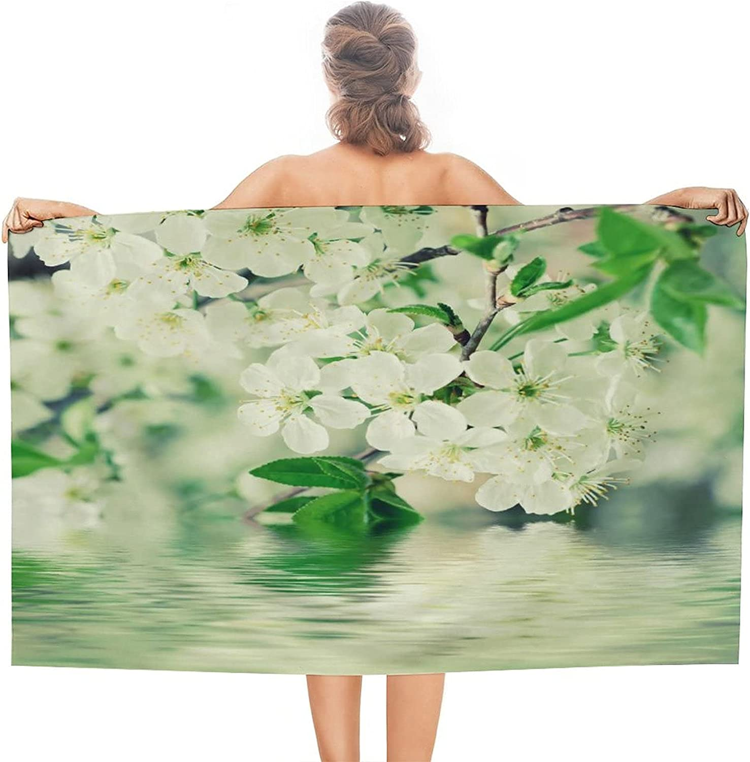 Blossoming 70% OFF Outlet of Cherry Flowers Over item handling in Beach Soft Towel Circular Spring