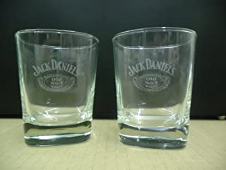 Set of 2 Jack Daniels Tennessee Whiskey Old No. 7 Brand Square Lowball Rocks Glasses