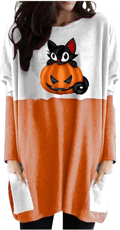Womens Halloween Shirts Long Sleeve, Women's Halloween Cute Pumpkin Print Sweater Shirts Casual Cat Loose Pullover Tops