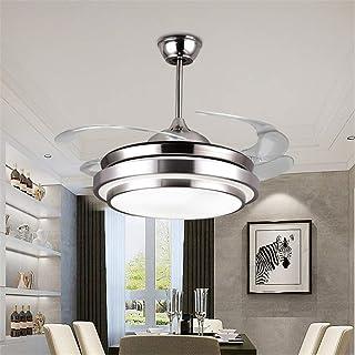 SHELLTB Ventilador de Techo Moderno con luz Bluetooth Altavoz y lámpara de Techo remota Regulable con música Lámpara de Techo Araña Plegable Lámparas retráctiles Ventilador,D42inch