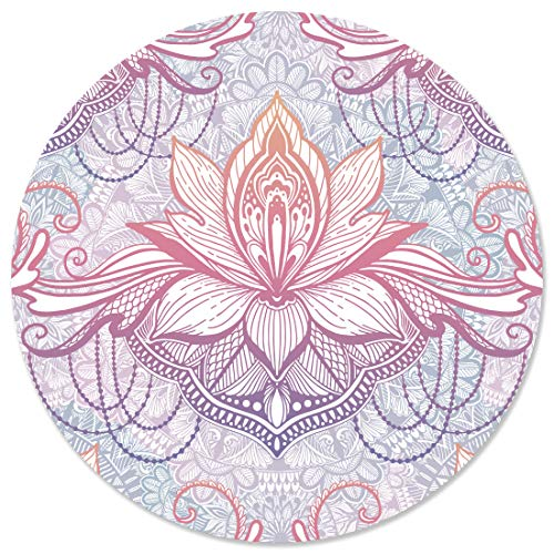 Cute Mouse Pad for Laptop & Computer - Non-Slip Small Home & Travel Mouse Pad for Women & Kids Mousepad - Vintage Mini Colorful Boho Flowers Mouse Mat - Flat & Round