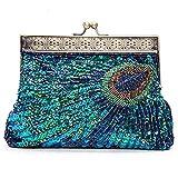 KISSCHIC Vintage Beaded Sequin Peacock Clutch Purse Evening Bags (Peacock Blue)