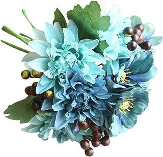 Longay Artificial Silk Fake Flowers Leaf Rose Floral Wedding Bouquet Party Home Decor (Blue)